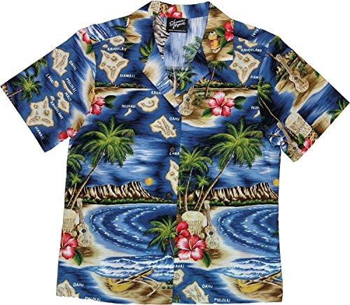 RJC Women's Hibiscus Hawaiian Island Hawaiian Camp Shirt Navy Blue 2X - Shirt Camp Hibiscus