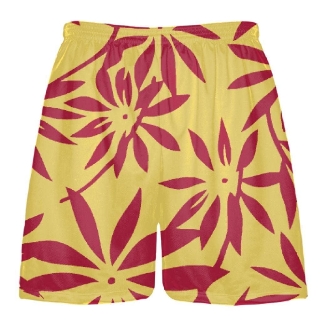Hawaiian Basketball Shorts Youth Gold Youth Gold Red Hawaiian Lacrosse Shorts