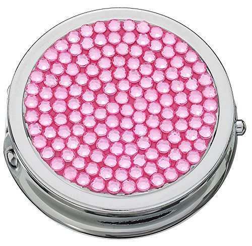 Bejeweled Pill Box with Compact Mirror and 3 Compartments (Pink)