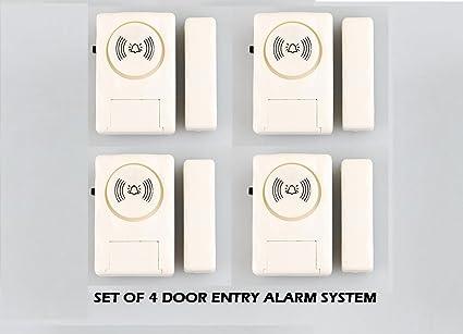 Jenix Wireless Door Window Open Alert Alarm Home Security System Siren - Set of 4 Nos Sensors JXDMA06
