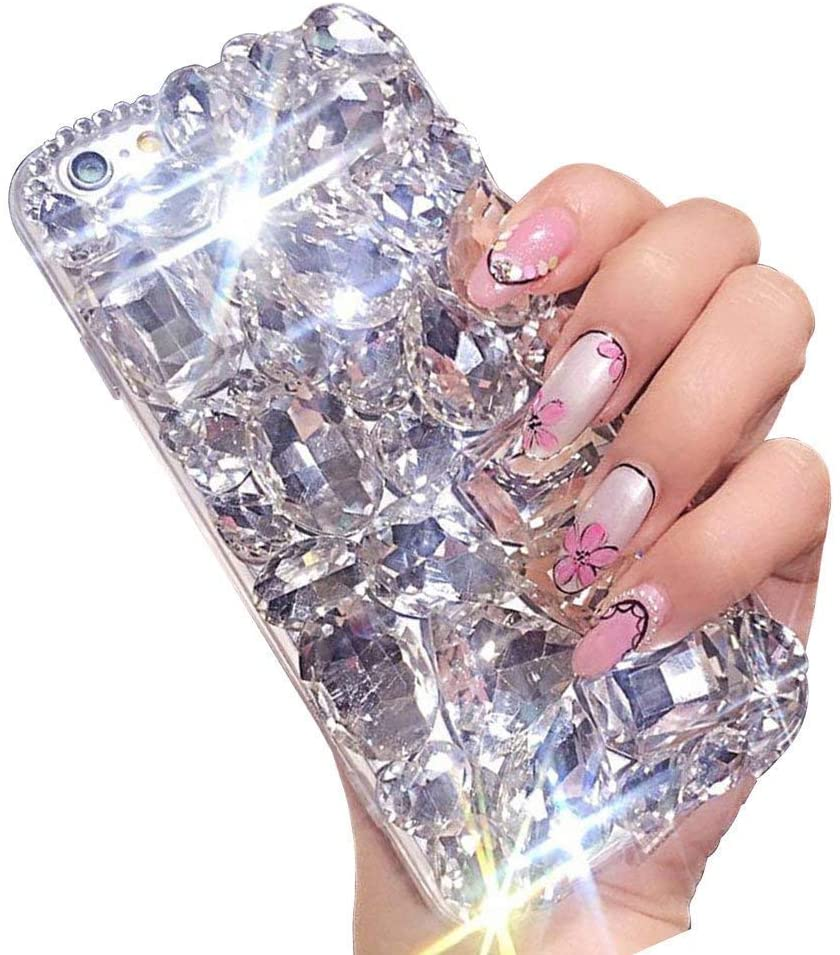 Bling Diamond iPhone 8 Case 4.7'',Apple iPhone 7 Bling Glitter Clear Crystal Full Diamonds Luxury Sparkle Transparent Rhinestone Protective Phone Case Cover with Bumper for Woman Girls-White