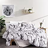 Carisder Microfiber Duvet Cover Set Polyester Bedding Sets Girls Floral Bed Sheet Set Marble Queen