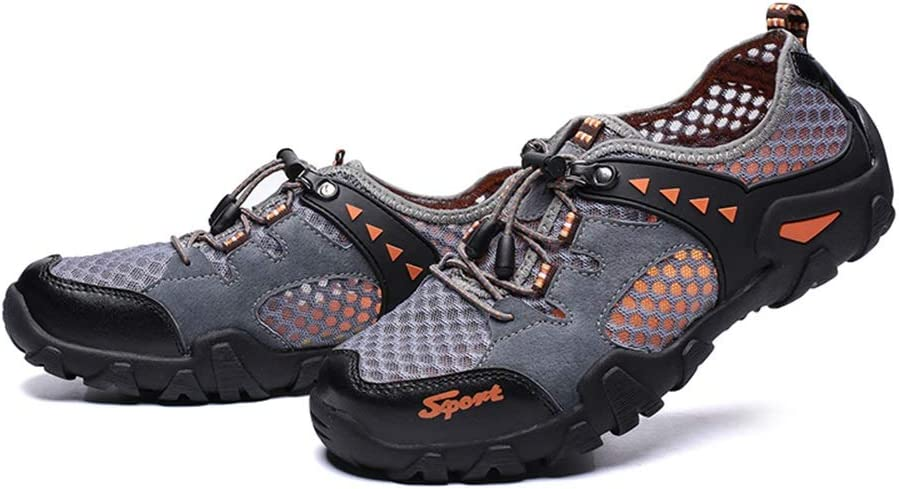 SHENLIJUAN Athletic Shoes for Men Sports Shoes Lace Up Style Mesh Material Fresh and Breathable Anti-Collision Toe Gray