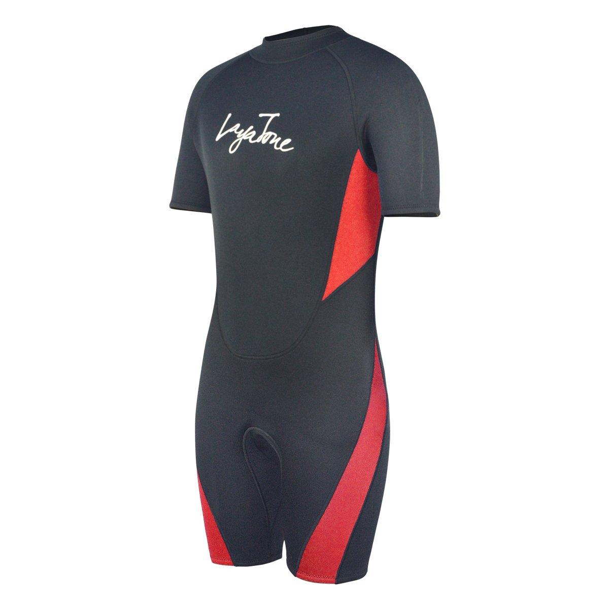 Layatone 3mm Shorty Wetsuit Adults Scuba Diving Suit Men Women Neoprene Wetsuits Thermal One Piece Swimsuit Surf Suit Shorty Suits