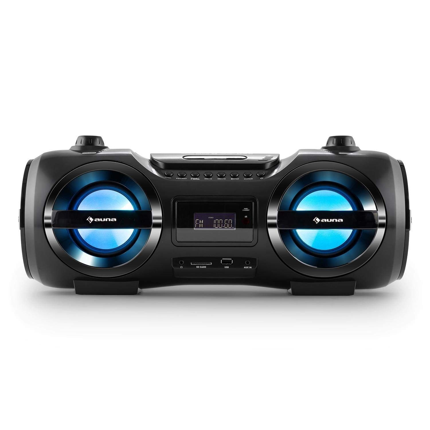 auna Soundstorm M • Boombox • Bluetooth 3 0 • MP3-compatible USB port and  SD card slot • PLL FM radio • AUX input • LED effect lighting • Battery