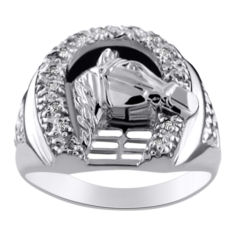 b97750724a666 Diamond Horseshoe Ring LUCKY 14K Yellow or White Gold