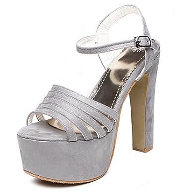Smilice Damen Fashion Sandalen mit Hohem Peep Blockabsatz Peep Hohem Toe ... 3fdee8