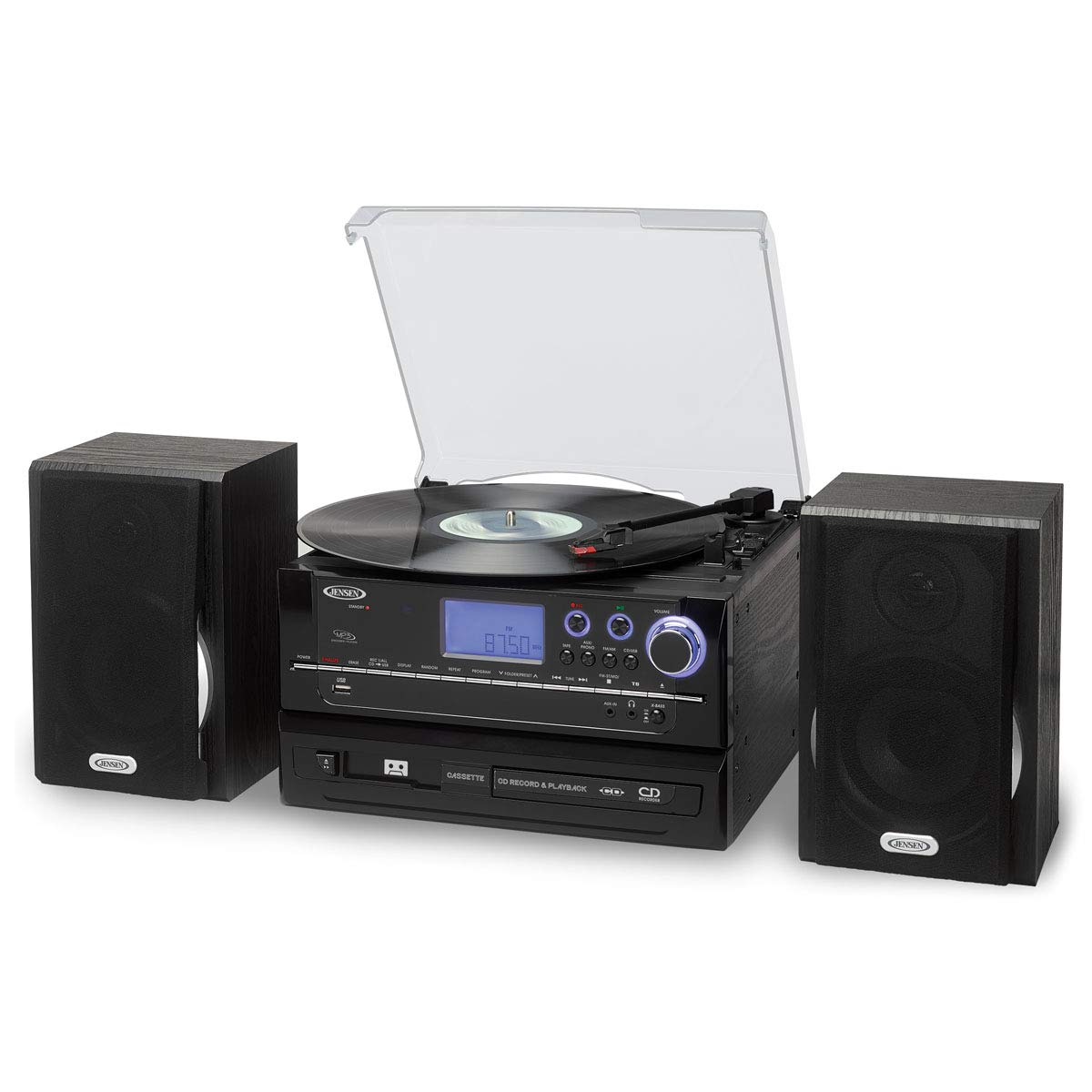 Jensen r Jta-990 3-Speed Stereo Turntable Cd Recording System With Cassette Player, Am fm Stereo Radio Mp3 Encoding