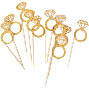 bidlsbs wedding bridal shower cupcakes toppers glitter mini diamond ring cupcake picks gold birthday party supplies