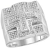 10kt White Gold Mens Round Diamond Domed Cross Cluster Ring 1/2 Cttw