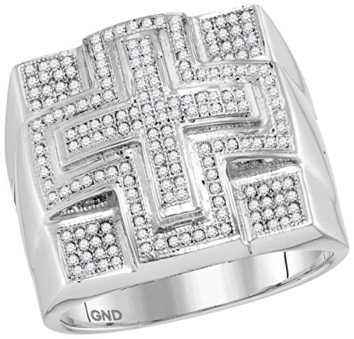 10kt White Gold Mens Round Diamond Domed Cross Cluster Ring 1/2 Cttw by JAWAFASHION