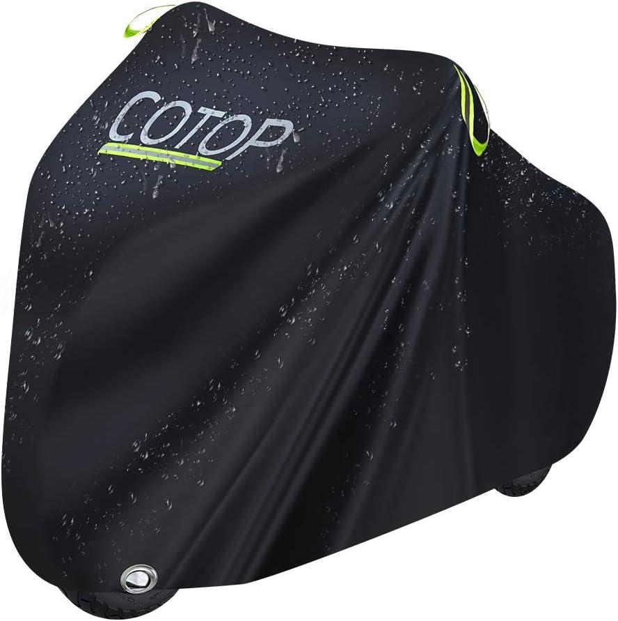 COTOP Funda para Bicicleta 210T Cubierta Impermeable para Bicicleta Protecci/ón UV Anti Polvo Lluvia con Orificios de Bloqueo para Bicicleta de monta/ña//Bicicleta de Carretera//Bicicleta de Ruta