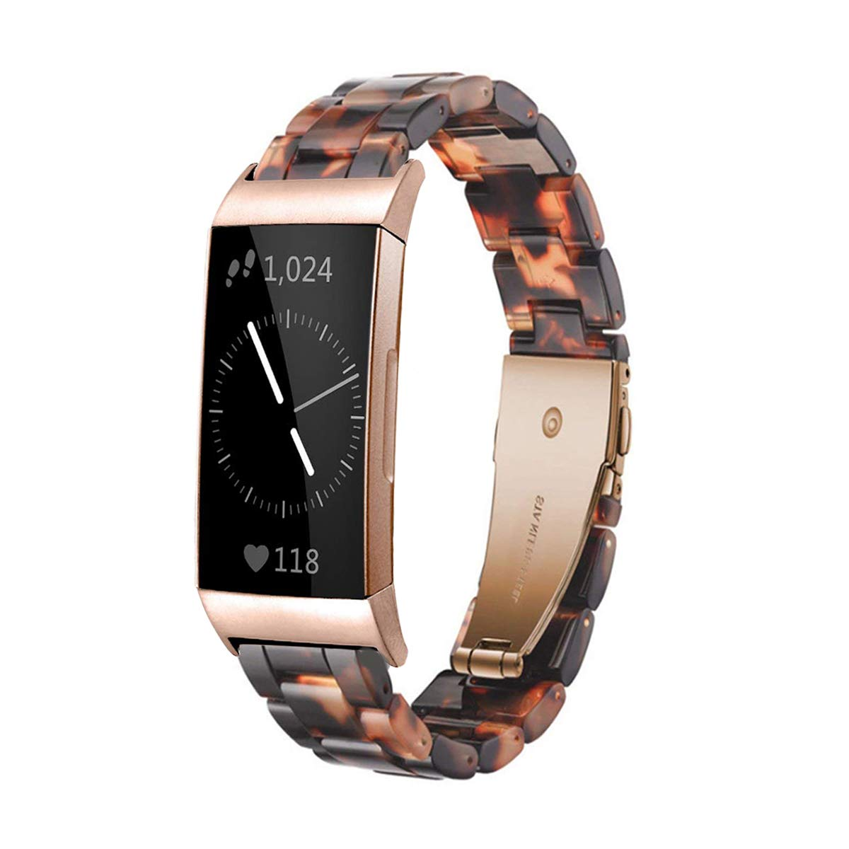 Ayeger Resin Band Compatible with Fitbit Charge 3/3 SE,Women Men Resin Accessory Rose Gold Buckle Band Wristband Strap Blacelet for Fitbit Charge 3/3 SE Smart Watch Fitness(Tortoise) by Ayeger