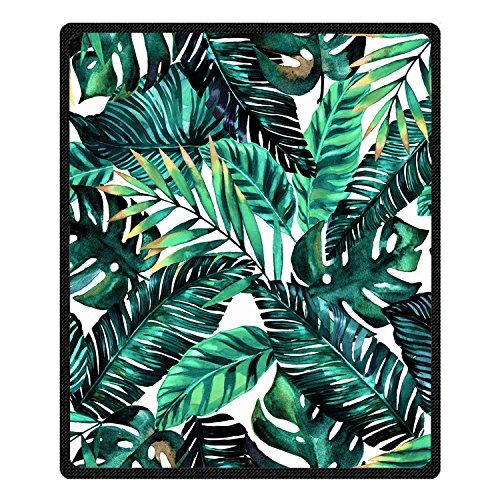 Printing tropical palm tree blanket banana leaves Blanket Velvet Plush Throw Blanket Bed Blankets Super soft and Cozy Fleece feeling Blanket for travelling 150CM200CM (2)