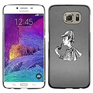 Be Good Phone Accessory // Dura Cáscara cubierta Protectora Caso Carcasa Funda de Protección para Samsung Galaxy S6 SM-G920 // Pipe Smoke Man Detective Rain Coat Art Drawing