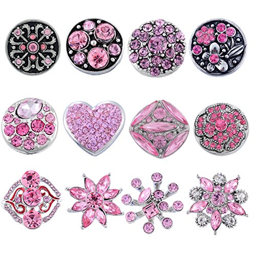 Souarts Mixed Pink Rhinestone Snap Button Jewelry Charms Pack of 12pcs