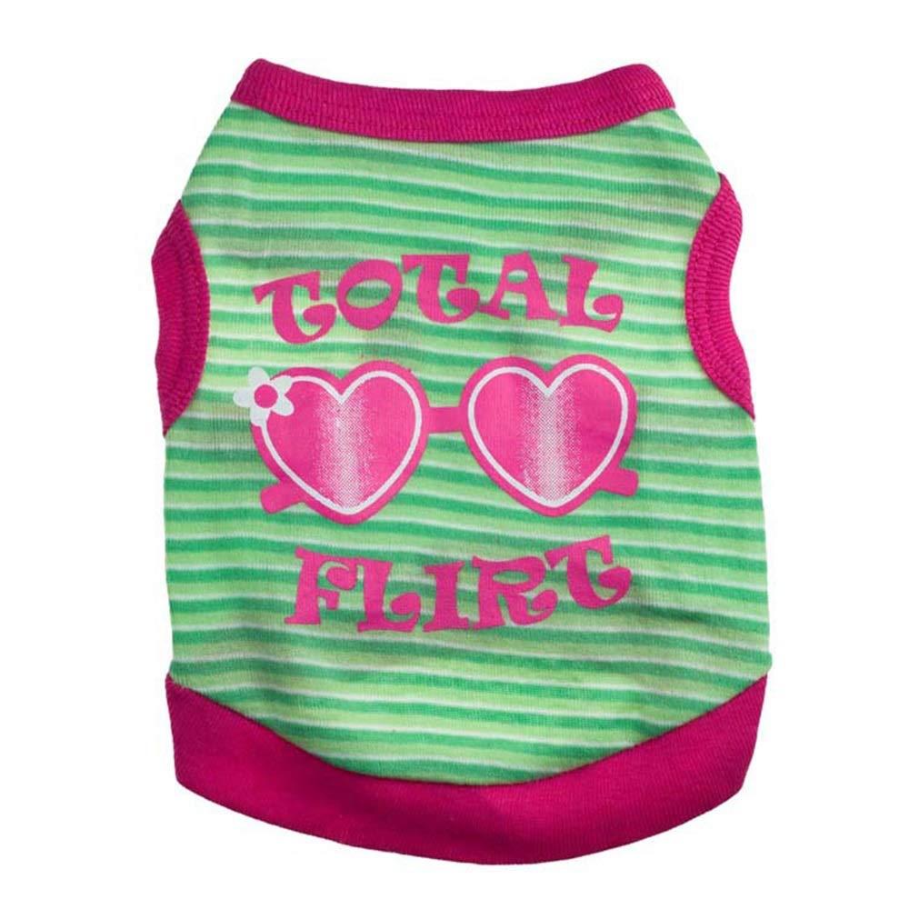 Green M Green M AUSWIEI Dog T-Shirt Vest Cotton Sweet Cute Sunglasses Pet Vest (color   Green, Size   M)