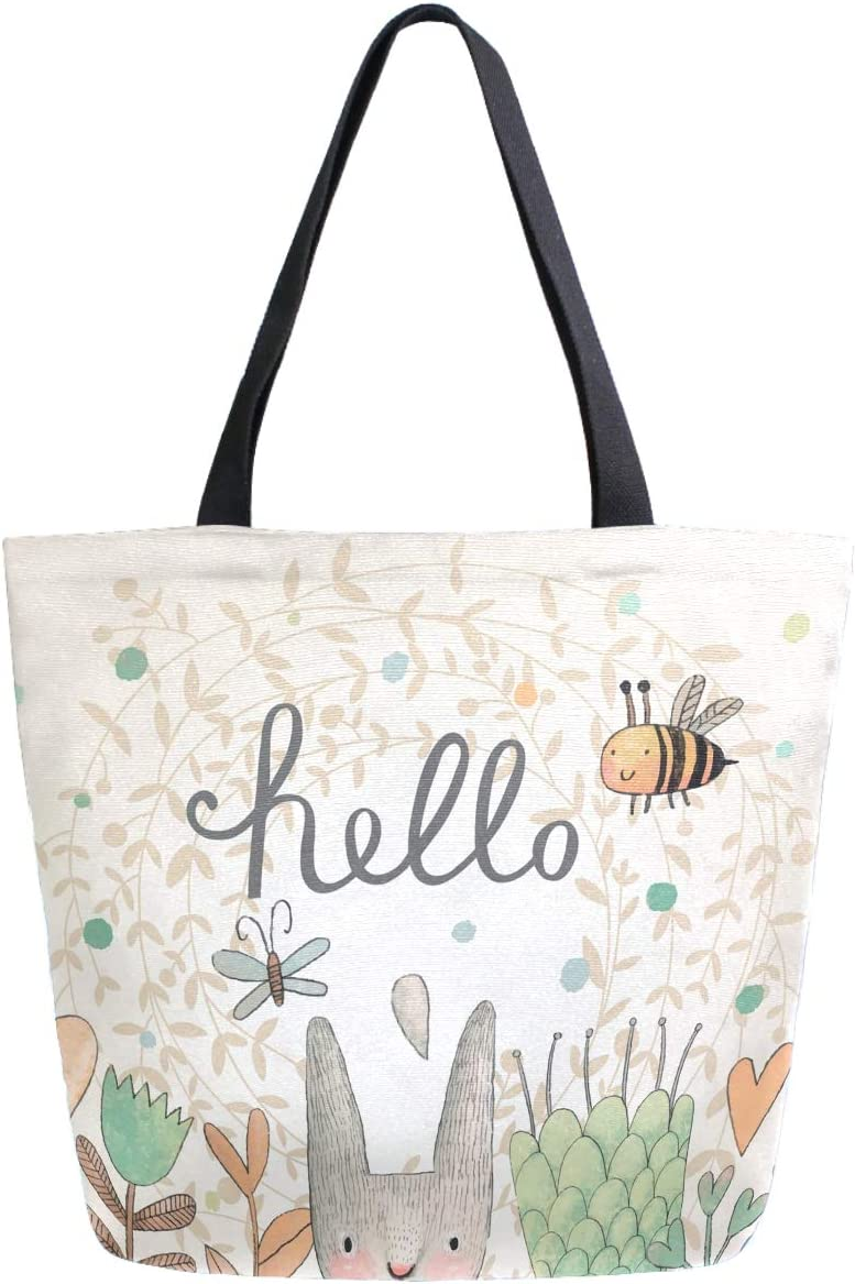 ZzWwR Cute Rabbit Butterfly Bee Flowers Hello Pattern Extra Large Canvas Shoulder Tote Top Storage Handle Bag for Gym Beach Weekender Travel Reusable Grocery Shopping