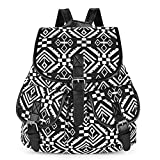 Vbiger Canvas Backpack Casual School Bag Travel Daypack for Girl (Black 3)