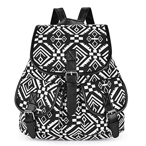 Vbiger Canvas Backpack Casual School Bag Travel Daypack for Girl (Black 3)