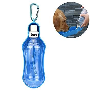 DUBENS perro Botella de agua, portátil Pet dispensador de agua, gato perro Trinkflasche botellas de agua, mascotas de plástico con cuenco Viaje Portátil ...