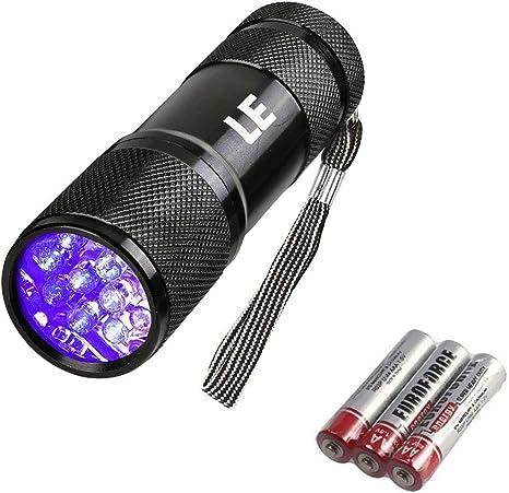 Nouveau 395 Lumière UV Lampe de Poche 9 DEL Ultra Violet torche lumières Aluminium noir Lampe