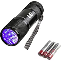 LE Small UV Blacklight Flashlight, Portable Black Light 395nm, Ultraviolet Light Detector for Invisible Ink Pens, Dog…