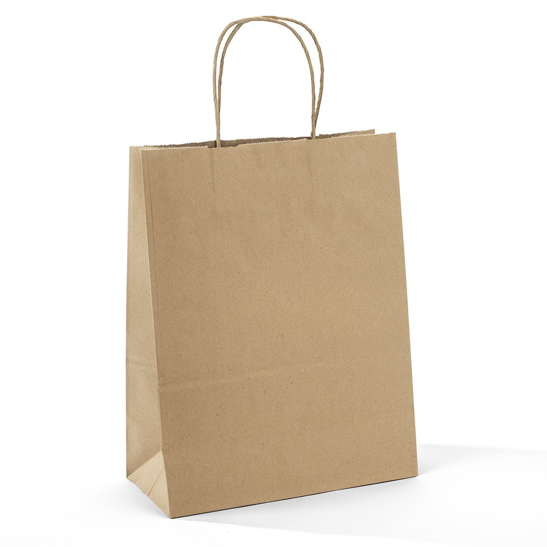 Halulu 10'' x 5'' x 13'' Brown Kraft Paper Bags - Gift bags with Handles, Shopping Durable Reusable Merchandise Retail Bags (100pc)