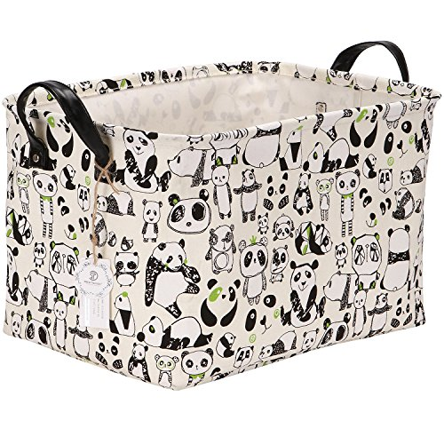 Sea Team Stylish Panda Design Canvas & Linen Fabric Storage Basket Nursery Bin Toy Organizer with Premium PU Leather Handles for Kids Room, Waterproof Coating
