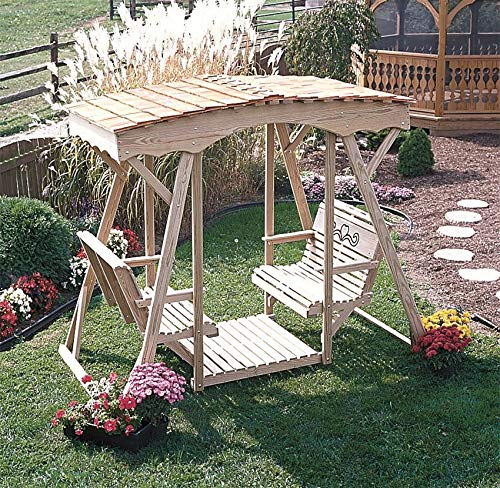 LuxCraft Cutout Heart Style Double Lawn Glider with Roof (Cedar Roof)