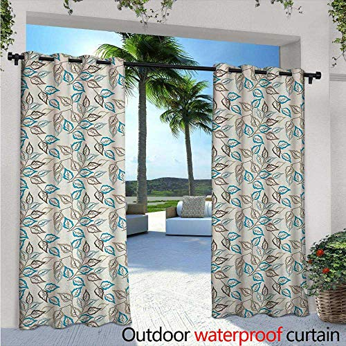 Leaves Balcony Curtains Botanic Foliage Leaves Pattern Garden Theme Nostalgic Autumn Motifs Outdoor Patio Curtains Waterproof with Grommets W120 x L96 Warm Taupe Pale Blue Cocoa