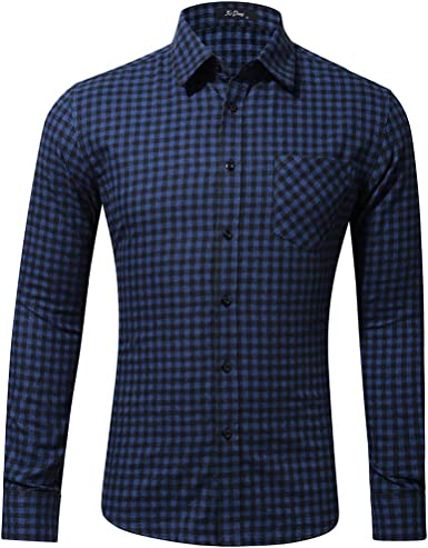 Luckycat Camisa Cuadros Hombre con Cuello Solapa Manga Larga Casual Formal Blusas Trabajo con Bolsillo Camisa cómoda de popelín elástico con Manga Larga Corte Entallado de Cuidado fácil para Hombre: Amazon.es: Ropa