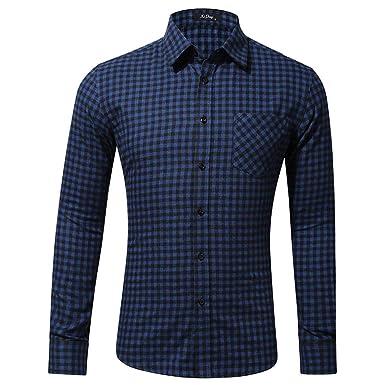 Luckycat Camisa Cuadros Hombre con Cuello Solapa Manga Larga ...