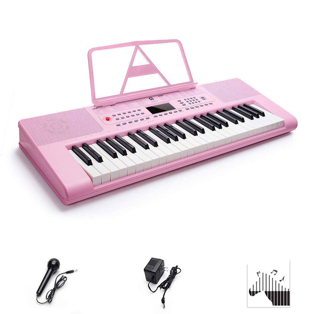 Digital Electric Keyboard Piano, Premium 49-Key Portable Electronic Keyboard Piano for Beginners, Adapter & Battery Power Supply, Pink, by Vangoa by Vangoa