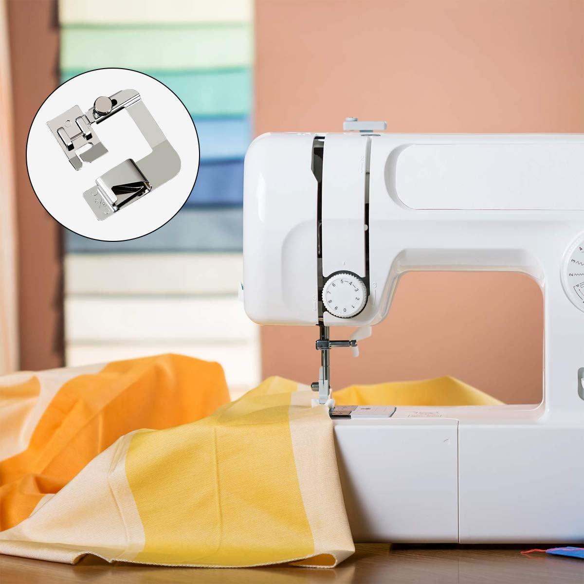 JXJH - Juego de prensatelas para dobladillo ancho y rodillo, 3 tamaños (4/8 pulgadas, 6/8 pulgadas, 1 pulgada) para máquina de coser de caña baja, kit de prensatelas ajustable para dobladillo: Amazon.es: Hogar
