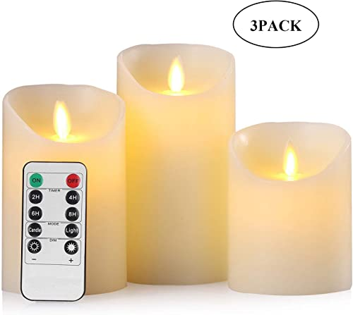 Flameless Candles Led Battery Operated Pillar Tea Lights with Remote Control Timer Realistic Flickering Flame Moving Wick White Indoor Outdoor for Seasonal Festival Celebration 4 5 6 Pack of 3