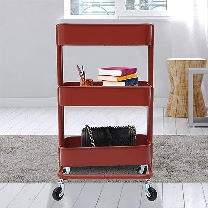 MegureSaintemillion RASKOG Carrito de Cocina Servicio IKEA 77x44x31cm 3-Niveles 4-Ruedas Rojo Marrš®n: Amazon.es: Hogar