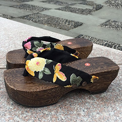 Jiyaru Kvinners Tøfler Flip Flops Tre Sandaler Geta Tresko Japan Style Svart