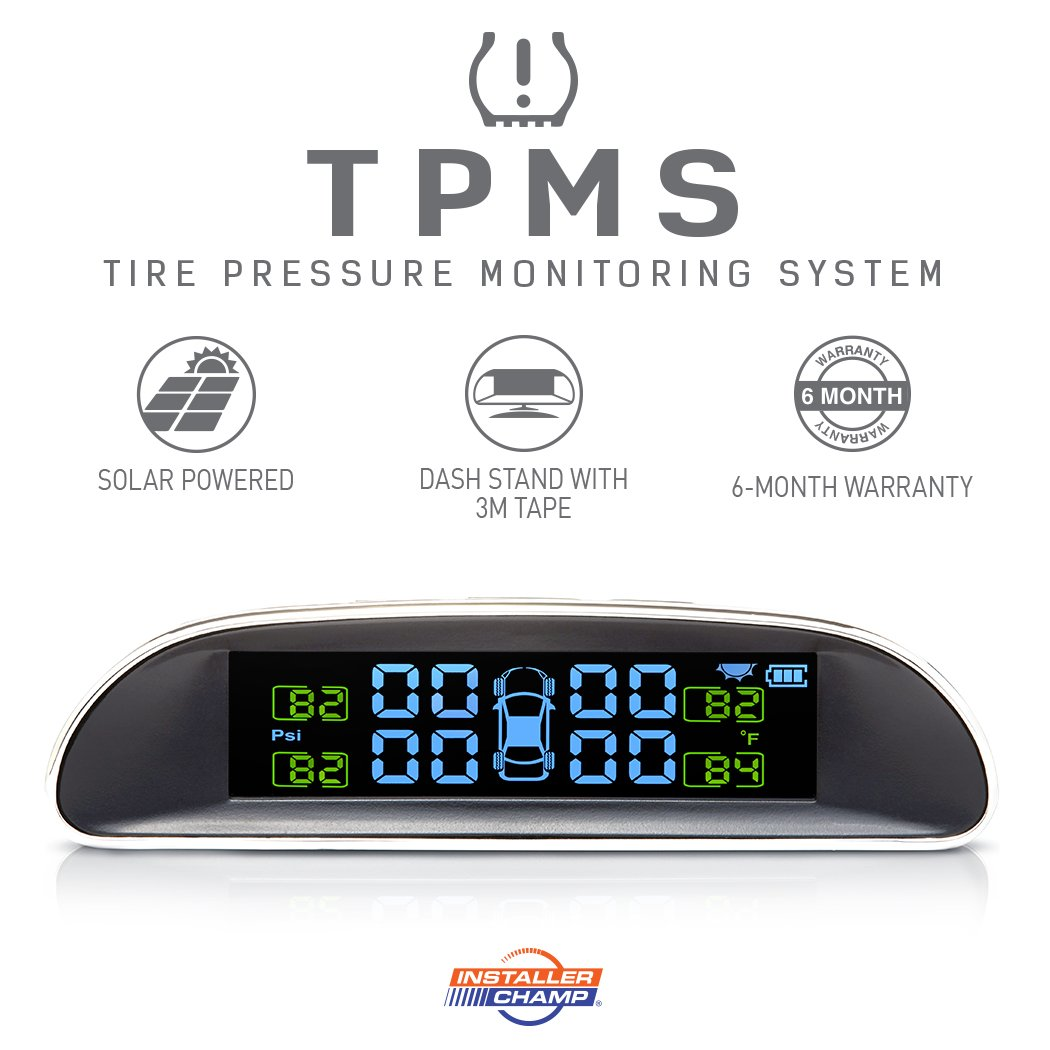 Installer Champ TPMS Tire Pressure Monitoring System - Solar Powered LCD Display w/Dash Stand & 4 External Sensors, 6 Month Warranty
