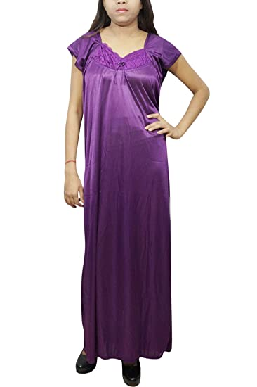 55cfce48b3 Indiatrendzs Women Long Maxi Gown Solid Satin Nighty with Robe Purple M   Amazon.in  Clothing   Accessories