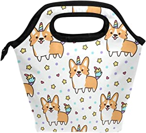 Lunch Bag Welsh Corgi Unicorn Star Heart Insulated Lunchbox Thermal Portable Handbag Food Container Cooler Reusable Outdoors Travel Work School Lunch Tote
