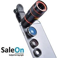 SaleOn™ 4 in 1 Lens kit 8X telephoto Zoom Fisheye Wide Macro Camera Phone Lens with Universal Clip(Black)-888