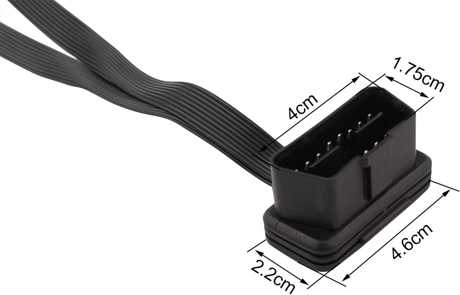 Adaptador de 16 Pines 1 Macho a 2 Hembra Cable Extensor de diagn/óstico OBD2 para Coche Cable Plano de 30 cm Cable Divisor de Perfil Ultra bajo OBD-II y Ultrafino Futheda