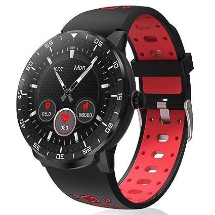 HopoFit Smartwatch Reloj Inteligente, HF06 Pantalla Táctil Completa Circular Impermeable Podómetro Pulsómetros, Monitor de Sueño, Notificación Llamada ...