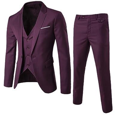 3b16c22c749 FUMUD Men s Suits Wedding Groom Plus Size 3 Pieces(Jacket+Vest+Pant ...