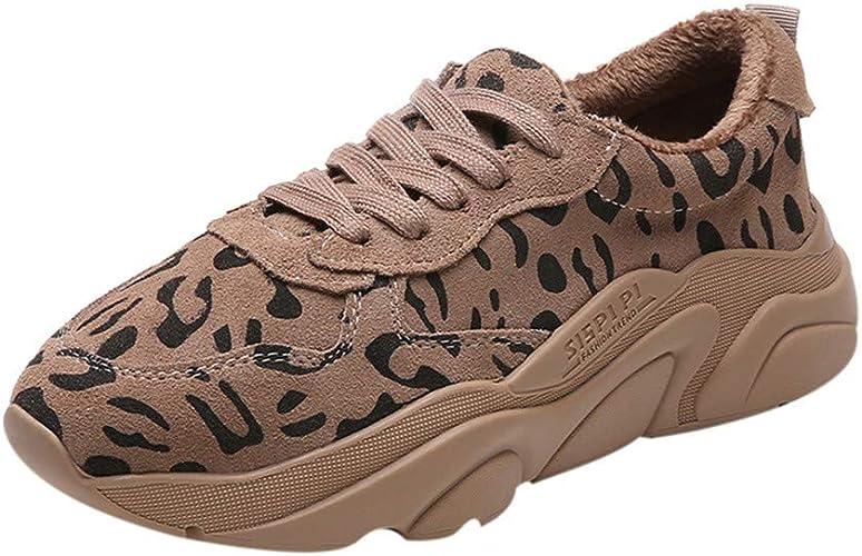 Logobeing Zapatillas de Running Moda para Mujer Invierno Cálido Zapatillas con Estampado de Leopardo Zapatillas Deportivas con Punta Redonda (37, Gris): Amazon.es: Zapatos y complementos