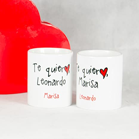Calledelregalo Pack Pack de Tazas Te Quiero Personalizadas para San Valentín, Dos Tazas Personalizadas para