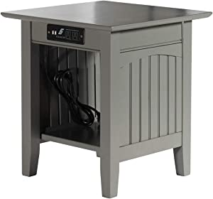 Atlantic Furniture Nantucket End Table with Charging Station, Grey