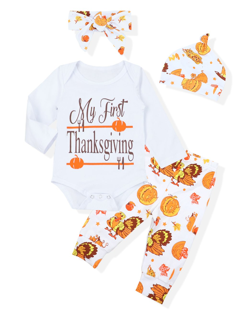 My First Thanksgiving Outfits Baby Boy Girl Clothes Letter Print Romper Top + Turkey Pant with Hat and Headband Costume(0-3 Months)