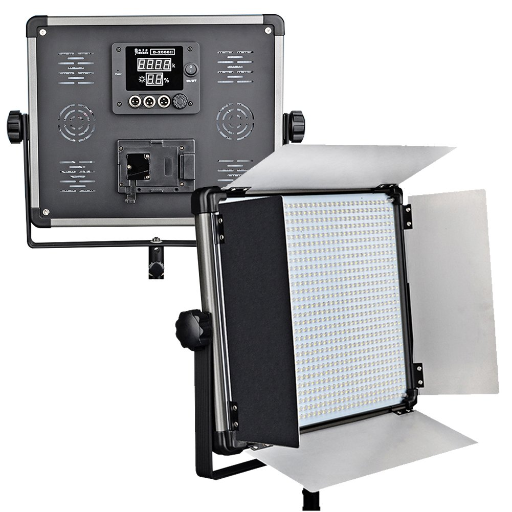 Idobol D-2000II Bi Color High Power 1724 LED Continuous Photography Lighting Panel, 140W 11000 Lumen Photo Studio Video Film Light With Barndoors, DMX Compatible